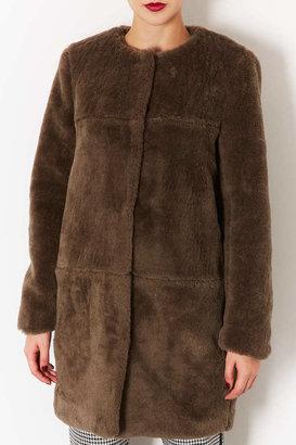 Topshop Premium Cocoon Fur Coat
