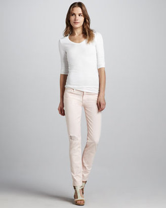 7 For All Mankind The Slim Cigarette Distressed Jeans, Ballet Pink