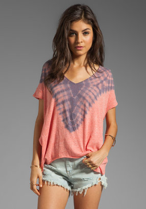 Free People Double Team Tee in Watermelon/Blue Combo