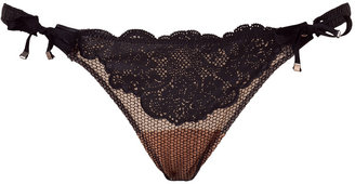 La Perla by J.P.Gaultier Black Leather and Lace Brasiliano Brief