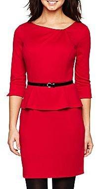 JCPenney Alyx® Belted Ponte Peplum Dress - Petite