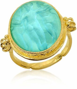 Tagliamonte Three Graces - 18K Gold Turquoise Vitreous Paste Cameo Ring