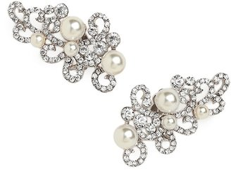 BaubleBar Silver Pearl Scroll Ear Cuffs