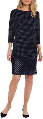 Joan Vass Plus Size Studded 3/4-Sleeve Boat-Neck Dress