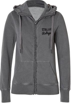 True Religion Cotton Fleece Embellished Back Hoodie