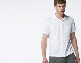 James Perse Sanded Jersey Button Front Polo