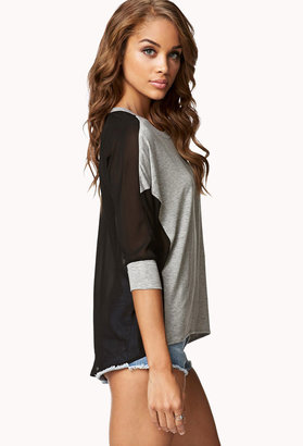 Forever 21 Heathered Chiffon Top