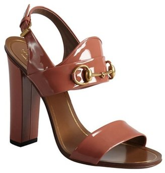 Gucci rose patent leather horsebit block heel sandals