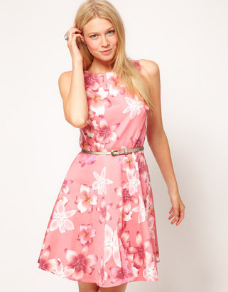 Oasis Mia Tropical Fit And Flare Dress