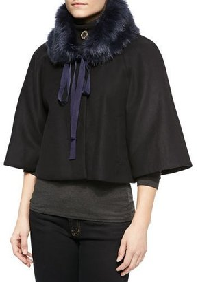 Elie Tahari Exclusive for Neiman Marcus Nadja Faux-Fur Swing Coat $125 thestylecure.com