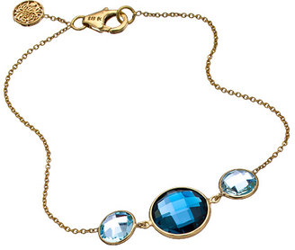 Tresor Gold London Blue and Sky Blue Quartz Triple Stone Fin Bracelet