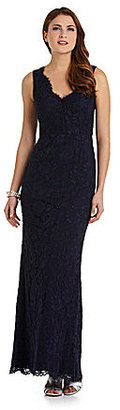 Adrianna Papell V-Neck Lace Gown
