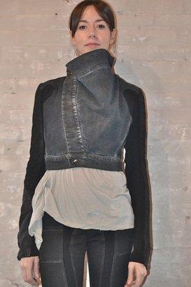 Rick Owens Dark Shadow Cropped Jacket W Leather Sleeves