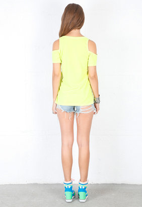 Singer22 Cold Shoulder Tee in Neon Yellow - by Chaser