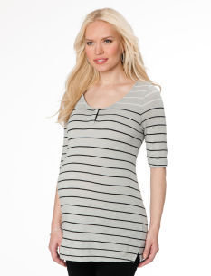A Pea in the Pod Elbow Sleeve Scoop Neck Henley Maternity Shirt