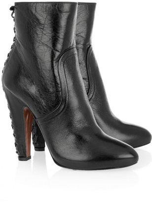 Alaia Laced-back glossed-leather ankle boots