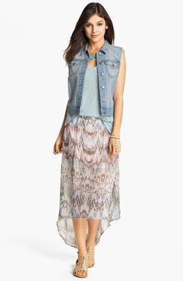 Mimichica Mimi Chica Print Chiffon High/Low Maxi Skirt (Juniors)