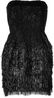 Roberto Cavalli Sequined Mixed-Media Dress in Black