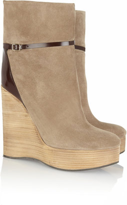 Chloé Suede wedge ankle boots