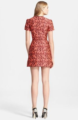 Erdem Fitted Neon Floral Jacquard Dress