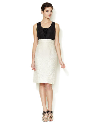 Carolina Herrera Pleated Neckline Jacquard Colorblock Dress
