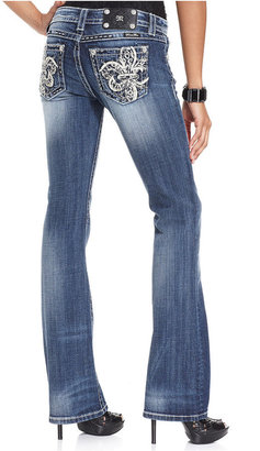 Miss Me Rhinestone-Embroidered Bootcut Jeans, Light Wash