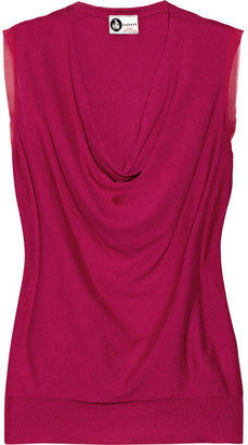 Lanvin Chiffon-trimmed silk and cotton-blend top