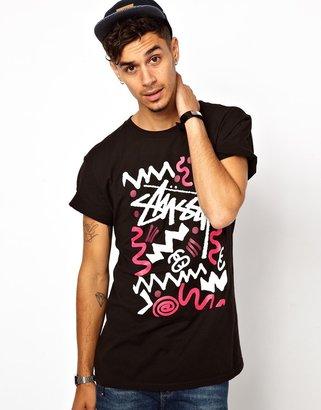 Stussy T-Shirt Zig Zag Print