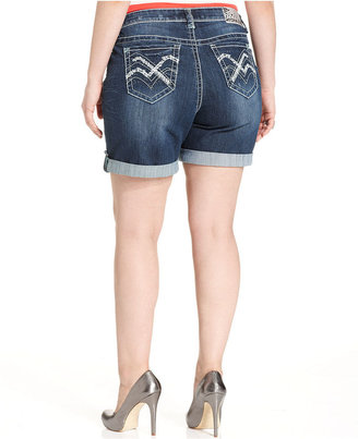 Hydraulic Plus Size Shorts, Bailey Roll-Tab Denim, Blue Wash