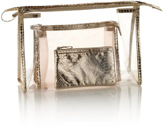 Marks and Spencer 3 Piece Faux Snakeskin Print Mesh Cosmetic Bag Set