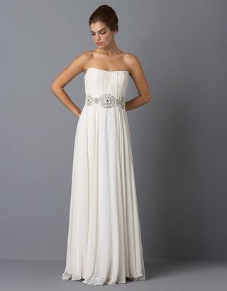 Theia Beaded White Strapless Gown