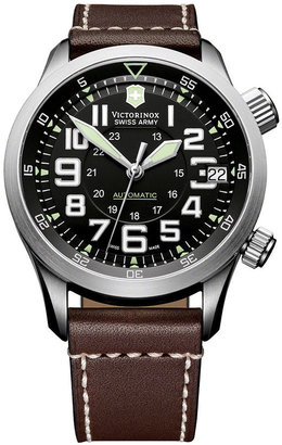 Swiss Army Victorinox Watch, Men's Automatic Airboss Mach 7 Brown Leather Strap 241378