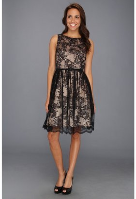 Jessica Howard Shirred Neck Lace Party Dress (Black/Tan) - Apparel