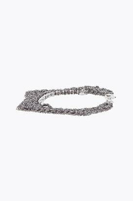 ARIELLE DE PINTO Ash Grey And White Crystal Trim Zig Zag Bracelet