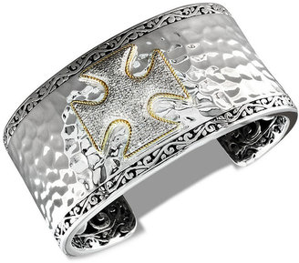Balissima by EFFY Diamond Cross Bangle (5/8 ct. t.w.) in 18k Gold and Sterling Silver