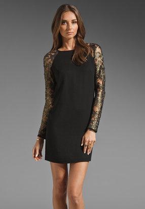Tibi Foil Lace Combo Shift Dress