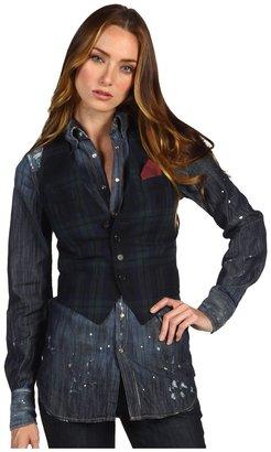 DSquared DSQUARED2 - Western Shirt (Blue Denim/Black Watch Vest) - Apparel