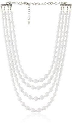 "Tarina Tarantino Empress White"" Gillinder 4 Row with Glass Beads and Swarovski Crystals Necklace"