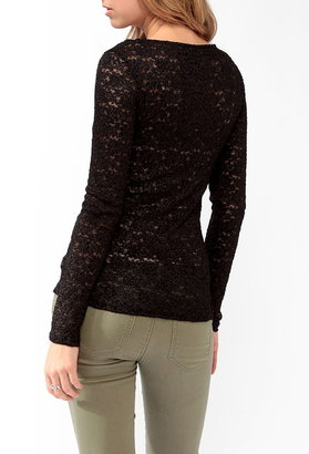 Forever 21 Fitted Textured Lace Top