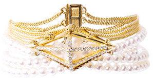 Melanie Georgacopoulos Diamond, white pearl & yellow gold bracelet
