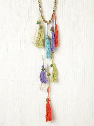 Free People Berry Multi Thread Tassel Necklace