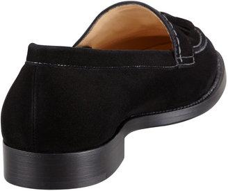 Manolo Blahnik Aldena Tasseled Suede Loafer, Black