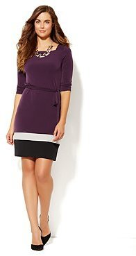New York & Co. Colorblock T-Body Matte Jersey Dress