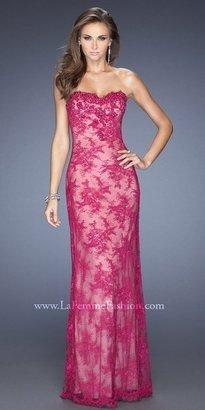 La Femme Black Lace Embellished Prom Dresses