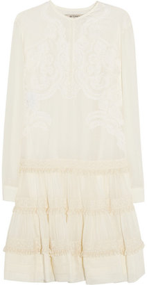 Etro Embroidered cotton and silk-blend mini dress