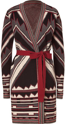 Just Cavalli Claret and Stone Tribal Patterned Cardigan