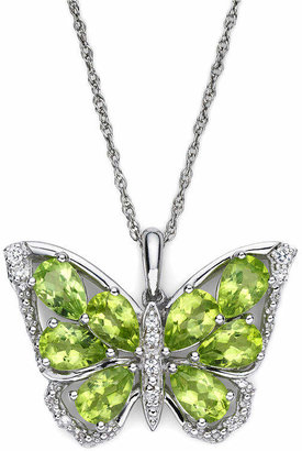 FINE JEWELRY Peridot & Lab-Created White Sapphire Sterling Silver Butterfly Pendant Necklace