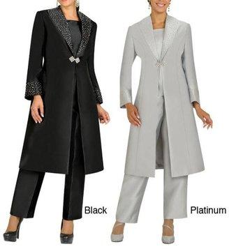 Divine Apparel Embellished Duster Coat Missy Pant Suit $144.99 thestylecure.com
