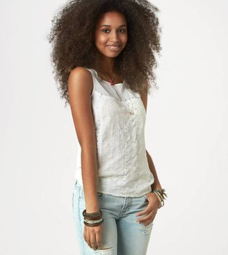 American Eagle AE Studded Embroidery Tank