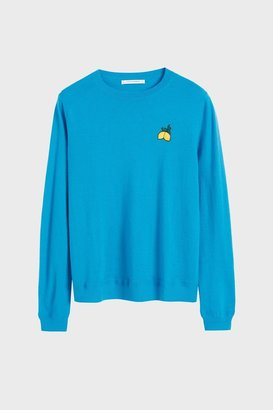 Chinti and Parker Blue Lemon Badge Cashmere Sweater